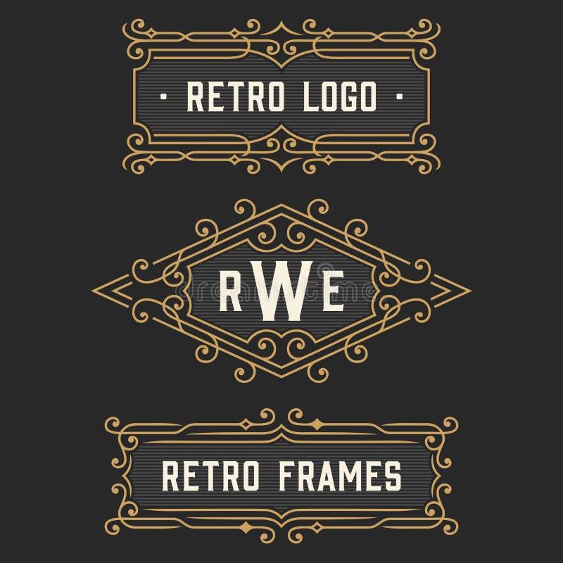 The set of stylish retro logo and emblem templates. Stock . The set of stylish retro logo and monogram emblem templates. Elegant vintage frames ornament logo vector illustration
