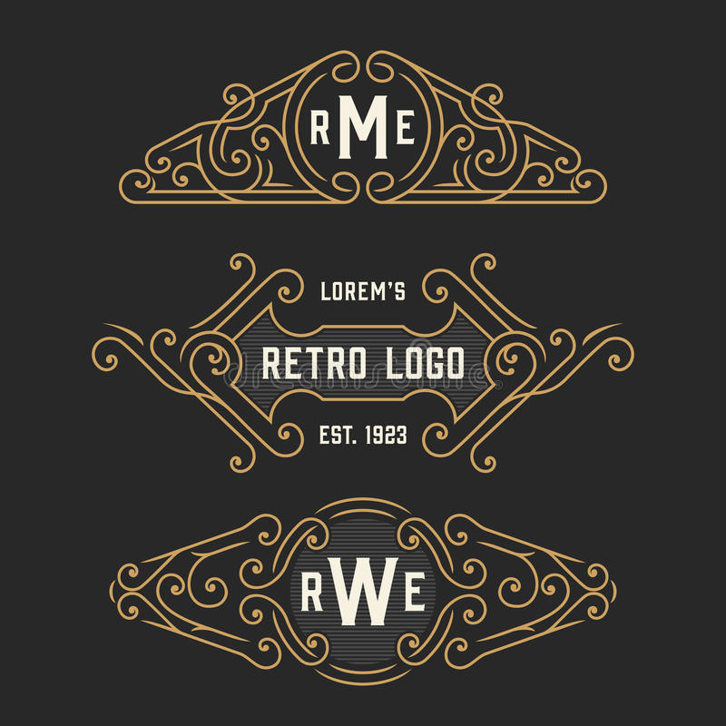 The set of stylish retro logo and emblem templates. Stock vector. The set of stylish retro logo and monogram emblem templates. Elegant vintage frames ornament stock illustration
