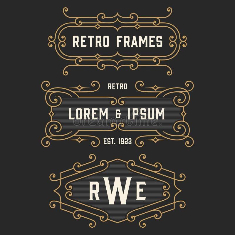 The set of stylish retro logo and emblem templates. Stock vector. The set of stylish vintage monogram emblem and logo templates. Elegant retro frames ornament stock illustration