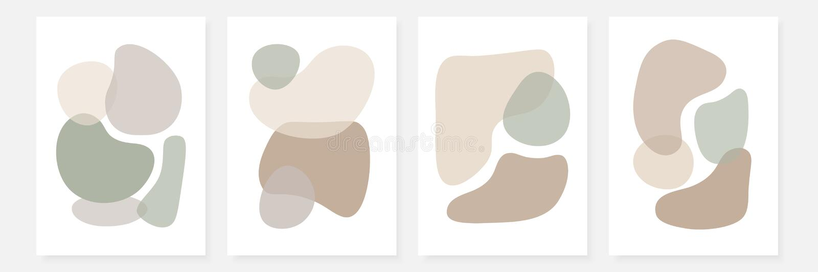 Set of stylish templates with abstract shapes in pastel colors. Contemporary collage design for invitations, flyers, cards, poster, covers etc royalty free illustration