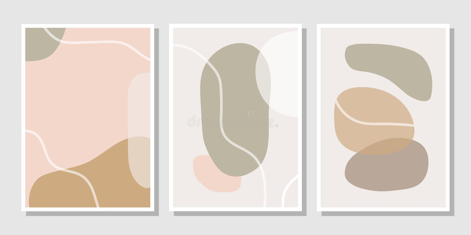 Set of stylish templates with abstract shapes in pastel colors. Contemporary collage style for invitations, flyers, cards, poster, magazine cover, etc royalty free illustration