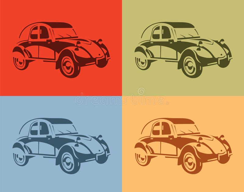 Set of stylish vector picture vintage cars four colors.  royalty free illustration