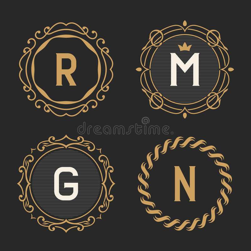 The set of stylish vintage monogram emblem and logo templates. The set of graceful vintage monogram emblem and logo templates. Stylish retro business sign stock illustration