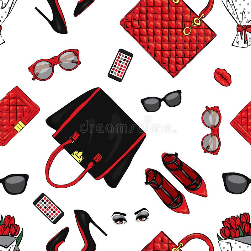 Set of stylish women`s accessories. Vector illustration for a card or poster. Print on clothes. Fashion & Style. Background. royalty free illustration