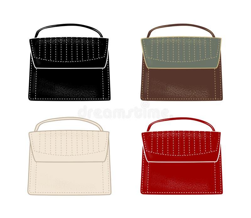 Set of stylish women`s handbags in different colours. Flat illustration. Fashion style vector illustration