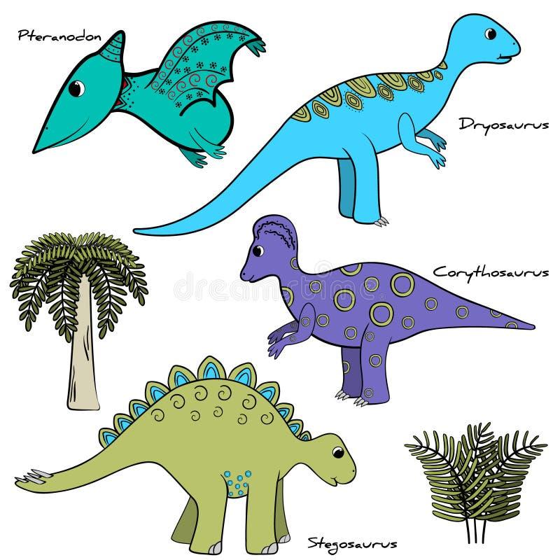 Set of stylized dinosaur isolated stock illustration