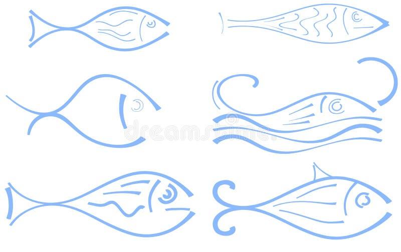 Set of stylized fish in blue tones isolated stock illustration