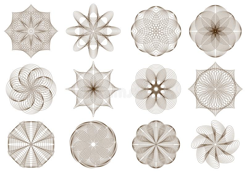 Set of stylized flower ornaments made of crossing ellipses. Geometric circle. Vector cartoon image. Scale to any size without loss of resolution royalty free illustration