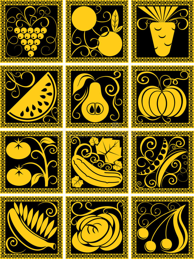 Download Set Of Stylized Fruit And Vegetables Stock Vector - Image: 27581042