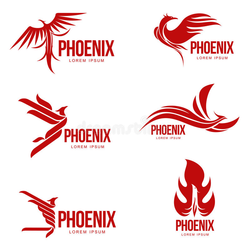 Set of stylized graphic phoenix bird logo templates, vector illustration. Isolated on white background. Collection of creative phoenix bird logotype templates stock illustration