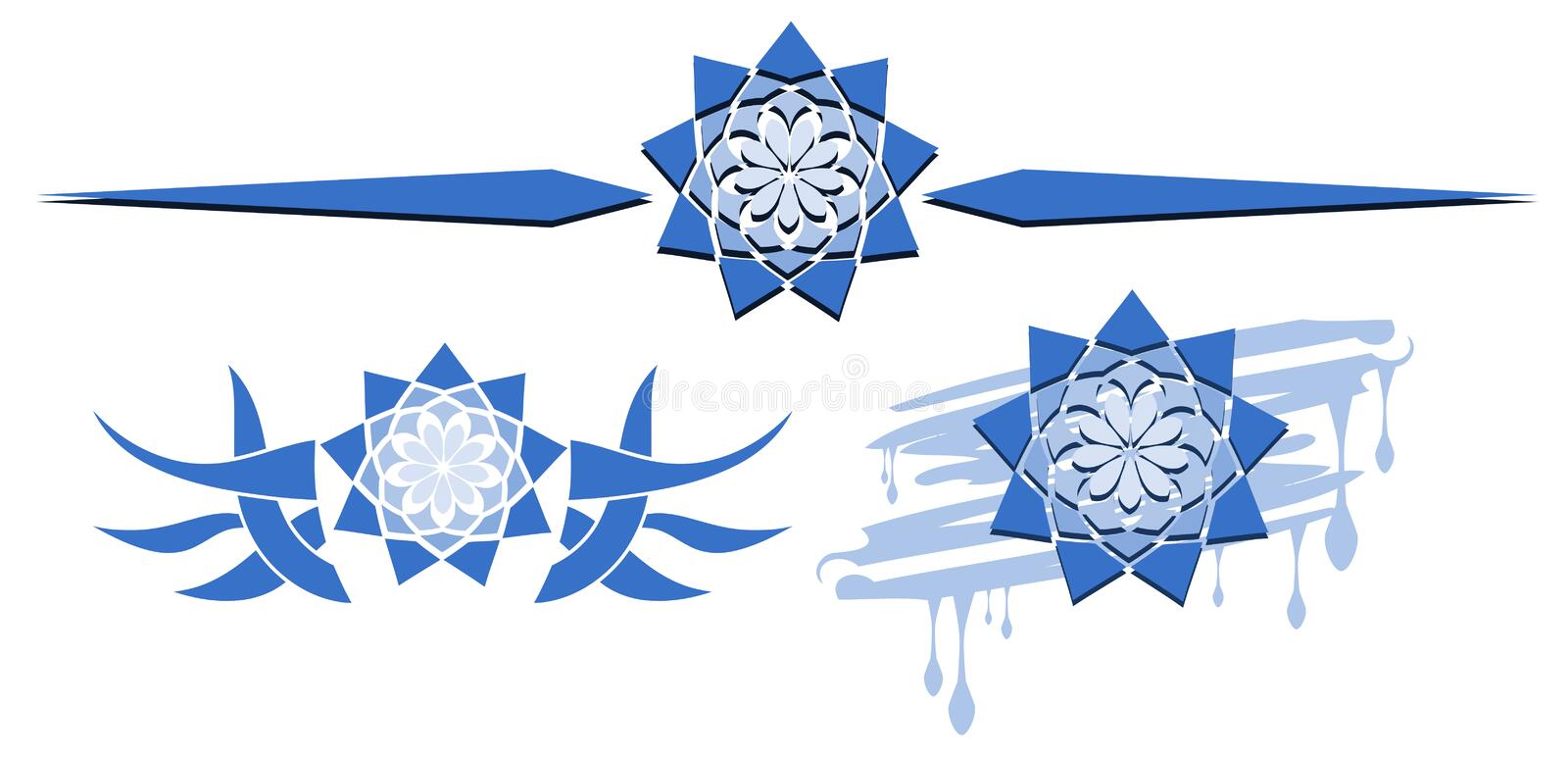 Set of stylized logos with flowers in blue isolated vector illustration
