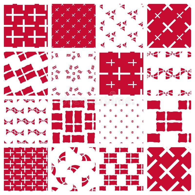 Set of stylized patterns of danish flag vector illustration