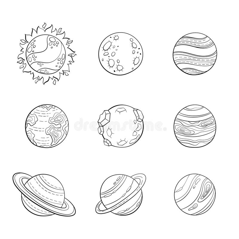 set stylized planets cartoon hand drawn sketch style sun mars venus earth saturn rings vector education space