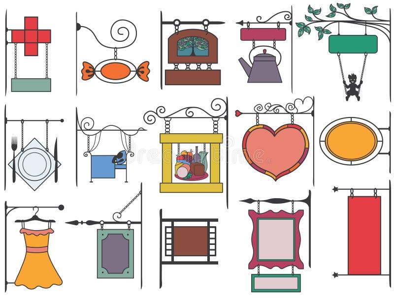 Set of stylized signboard in Europe style. Set of stylized signboard for your text in Europe style stock illustration