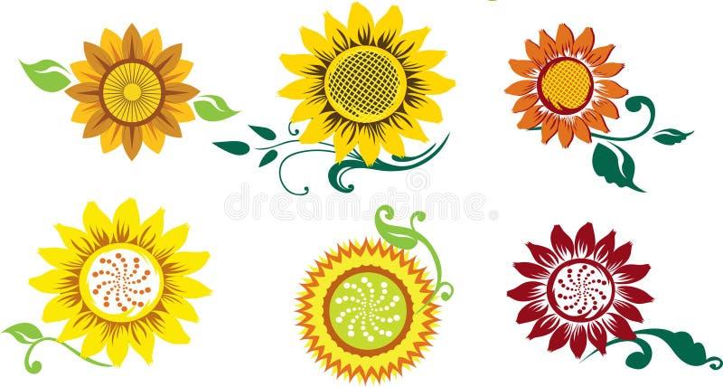 Set of stylized sunflowers stock illustration