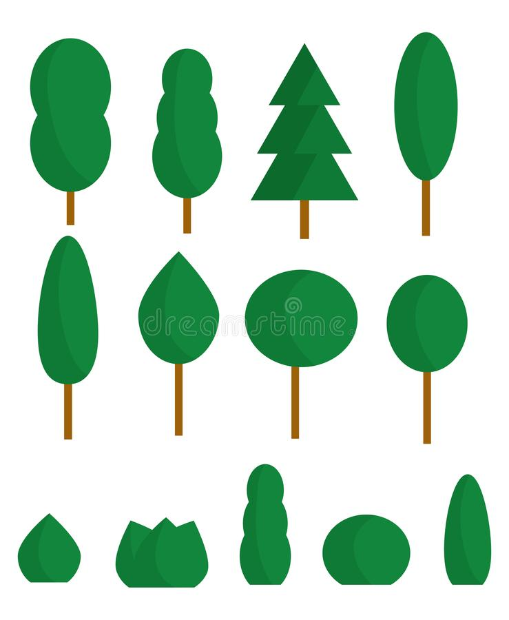 A set of stylized trees and bushes in the summer. A collection of cartoon green plants. Isolated objects. royalty free illustration