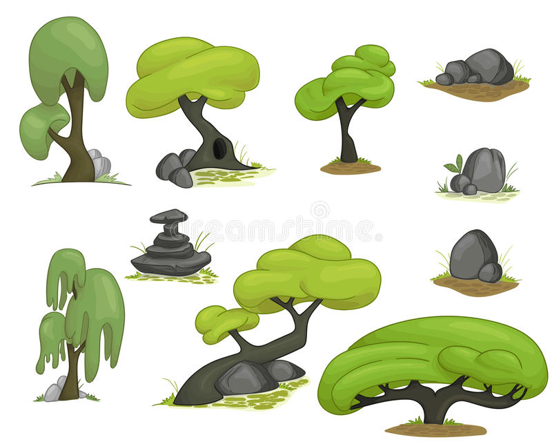 Set of stylized trees royalty free illustration