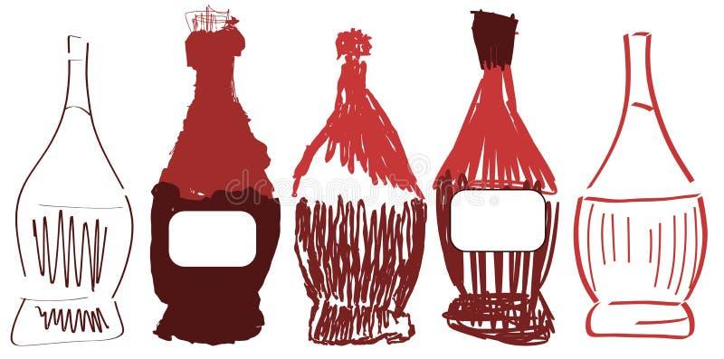 Set stylizowane kolby wino royalty ilustracja