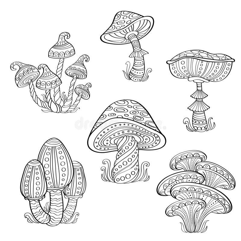 Set stylizowane ornamentacyjne pieczarki Kreskowa kolekcja sztuki Tatuaż książkowa kolorowa kolorystyki grafiki ilustracja royalty ilustracja