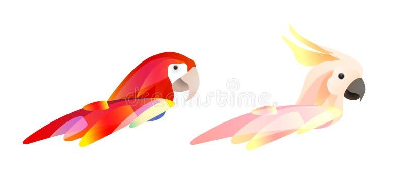 Set stylizowane papug głowy z piórkami Logo ara kakadu i papuga Wektorowy element ilustracji