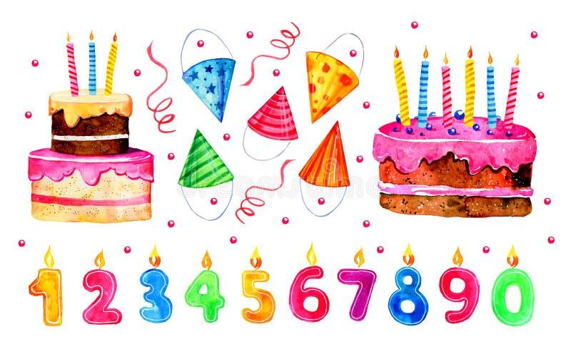 Set stylizowani urodzinowi elementy Ręka rysujący kreskówka torty, liczbowe świeczki i partyjni kapelusze, akwareli nakreślenia i royalty ilustracja