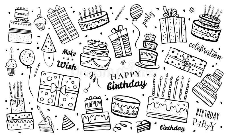 Set stylizowani urodzinowi torty, prezentów pudełka, balony i dekoracje, Ręka rysująca kreskówki wektorowego nakreślenia odosobni ilustracja wektor