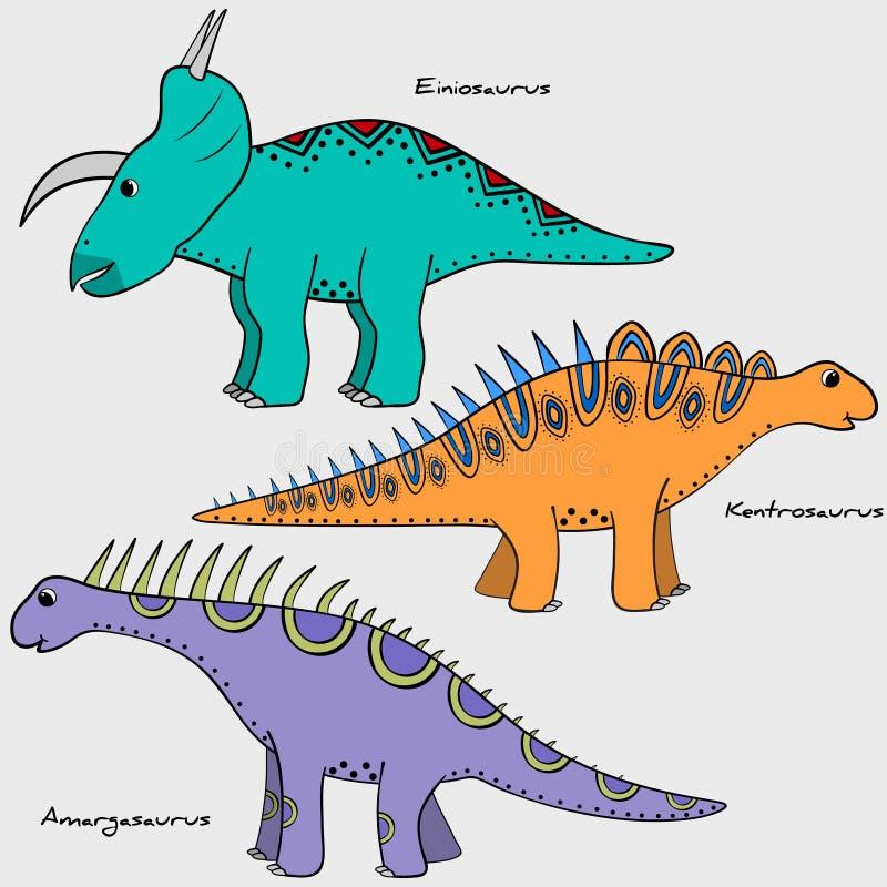 Set stylizowany dinosaur royalty ilustracja