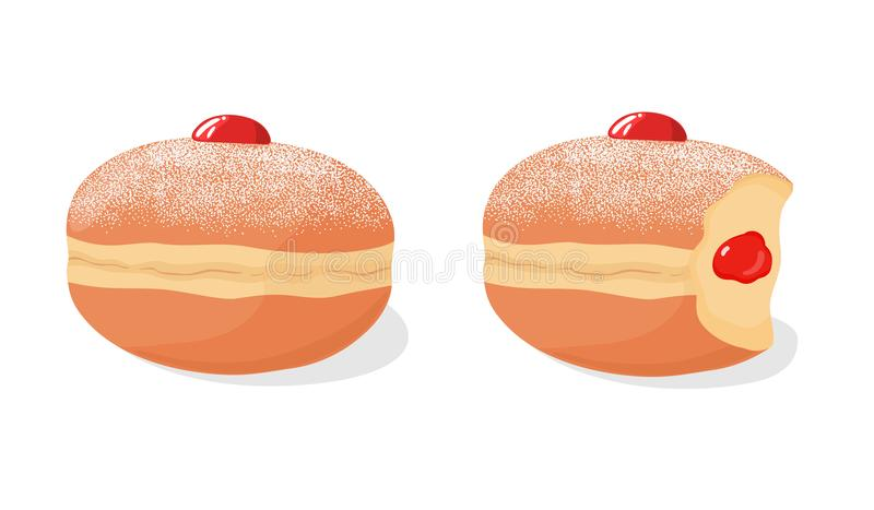 Set of sufganiyah jelly donuts with powdered sugar topping, with missing bite and berry jam filling. Vector illustration. Set of deep fried sufganiyah donuts royalty free illustration