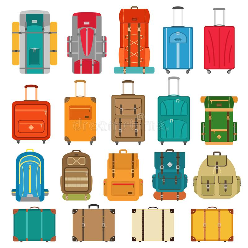 Set of suitcases and backpack icons in flat style stock illustration