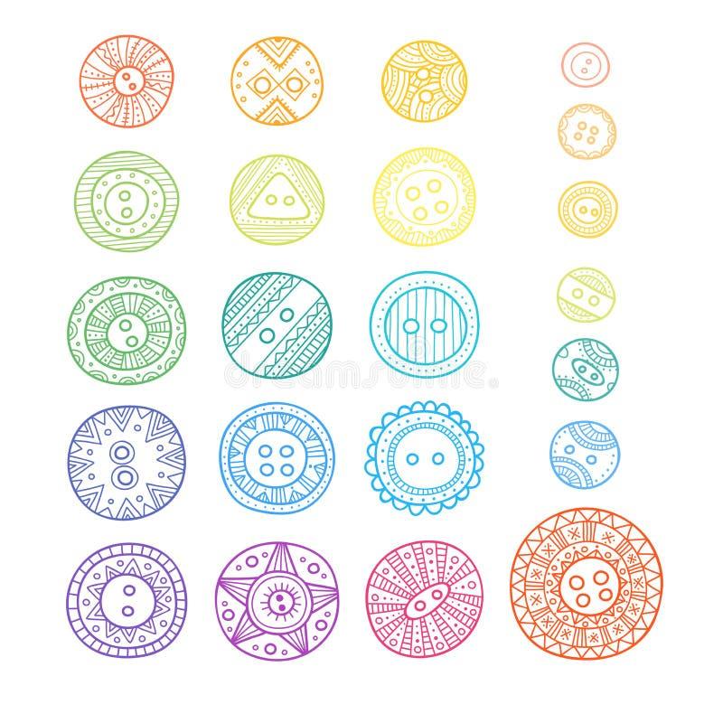 Set sukienni guziki w różnych projektach w boho stylu z orn ilustracja wektor