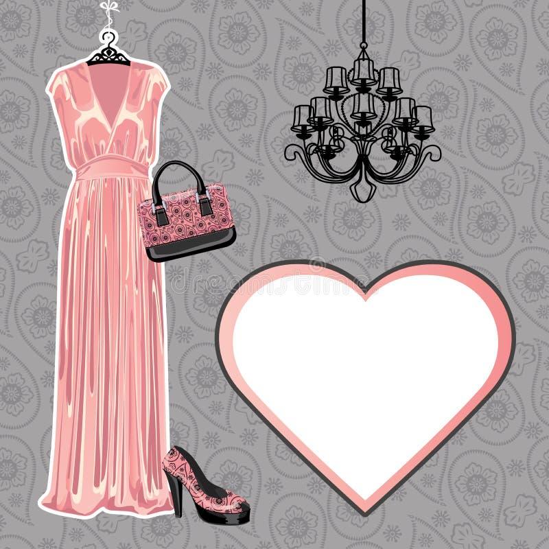 Set suknia, but, torebka z Paisley wzorem ilustracja wektor