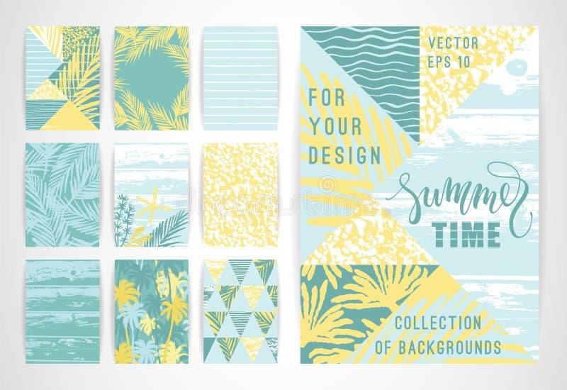 Set Of Summer Background Templates Design Elements For Poster