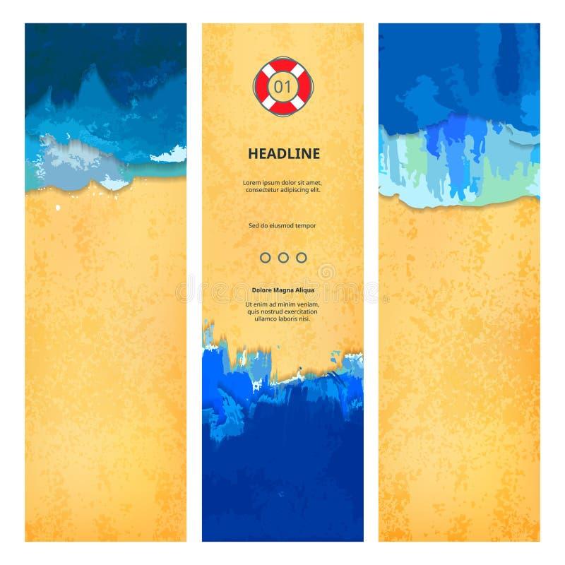 Set of Summer Beach Banners vector illustration