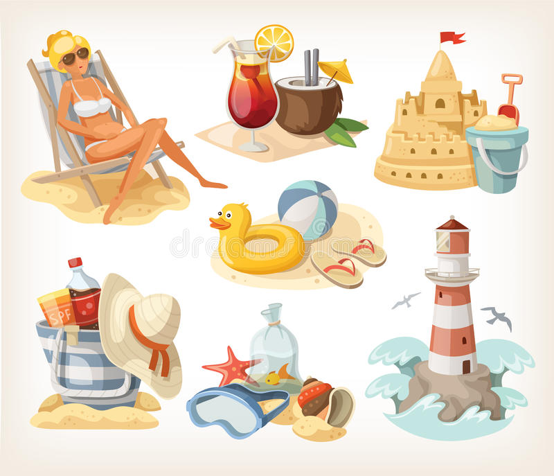 Set of summer beach elements. And situations