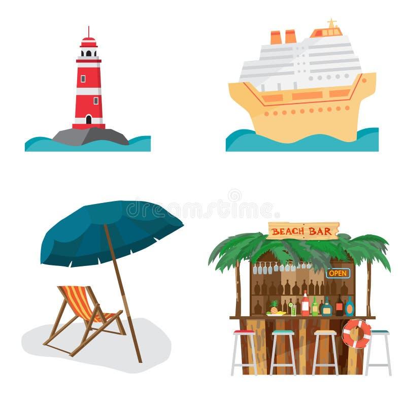 Set of summer beach objects. Summer Holidays. The lighthouse, cruise ship, beach bar, beach umbrella and chair royalty free illustration