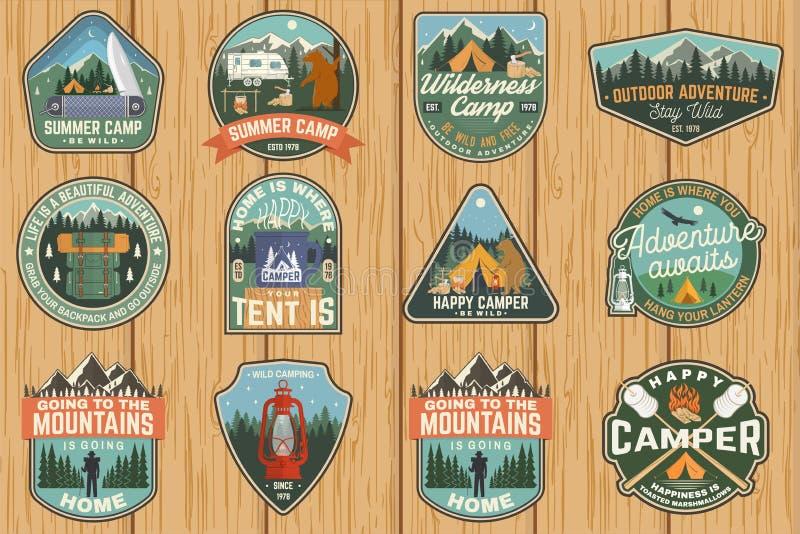 Set of Summer camp badges. Vector. Concept for shirt or logo, print, stamp, patch. Vintage typography design with rv. Set of Summer camp badges. Vector. Concept royalty free illustration