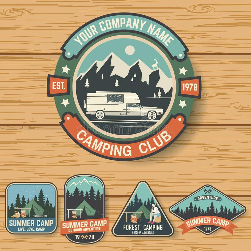 Set of Summer camp badges on the wood board. Vector. vector illustration