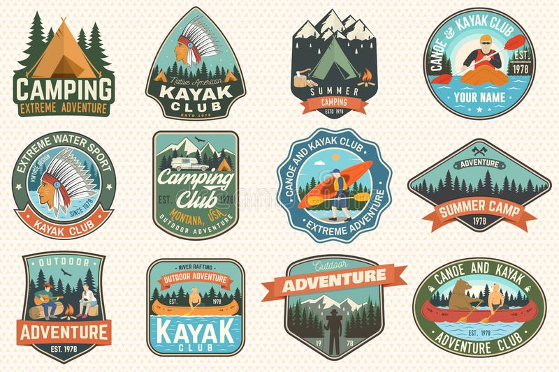 Set of summer camp, canoe and kayak club badges. Vector. Concept for patch. Retro design with camping, mountain, river. Set of summer camp, canoe and kayak club stock illustration