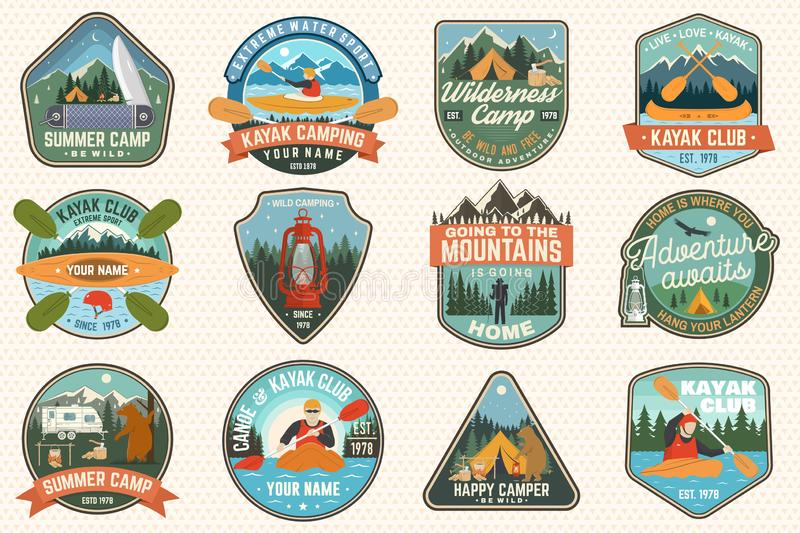 Set of summer camp, canoe and kayak club badges. Vector. For patch. Design with camping, mountain, river, american stock illustration