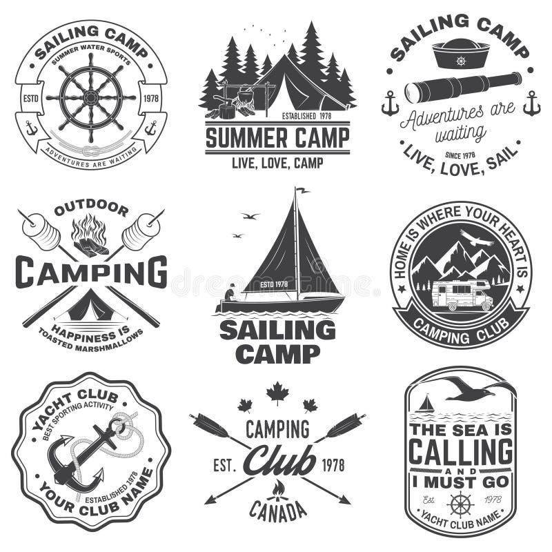 Set of Summer camp and sailing badges. Vector. Concept for shirt or print, stamp. Vintage typography design with trailer. Set of Summer camp and sailing badges vector illustration