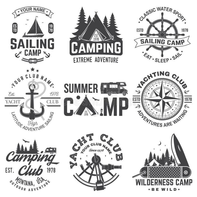 Set of Summer camp and sailing badges. Vector. Concept for shirt or print, stamp. Vintage typography design with trailer. Set of Summer camp and sailing badges stock illustration