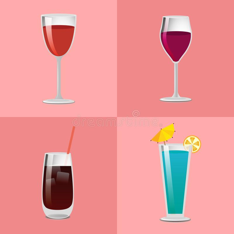 Set Summer Cocktails Vodka with Cola, Blue Lagoon. Set of summer cocktails vodka with cola, blue lagoon, red and burgundy wine, refreshing alcohol cocktails vector illustration
