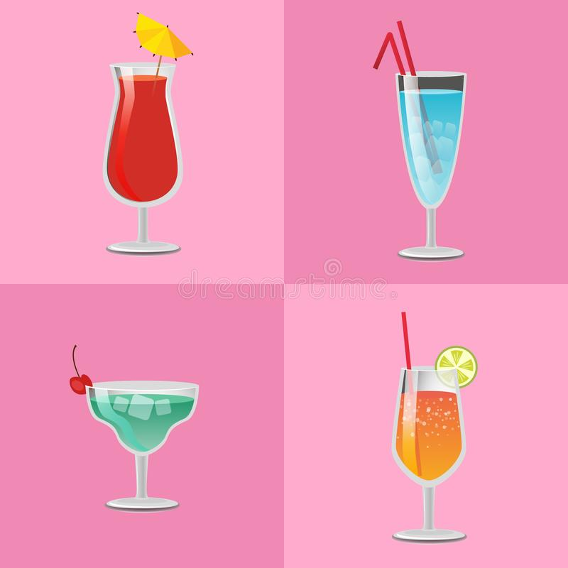 Set Summer Cocktails Vodka with Juice, Blue Lagoon. Set of summer cocktails vodka with juice, blue lagoon, tasty margarita and tropical pleasure refreshing stock illustration