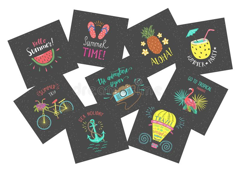 Set of Summer color hand-lettering labels and stickers. Tropical emblems with fruits. Travel postcards with quotes. vector illustration