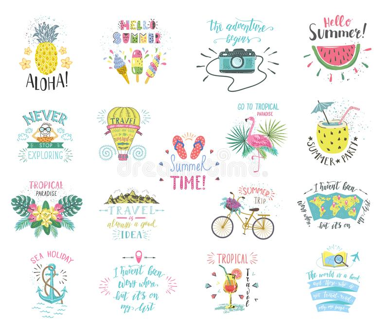 Set of Summer color hand-lettering labels and stickers. Tropical emblems with fruits. Travel postcards with quotes. Designs for t-shirt and poster stock illustration