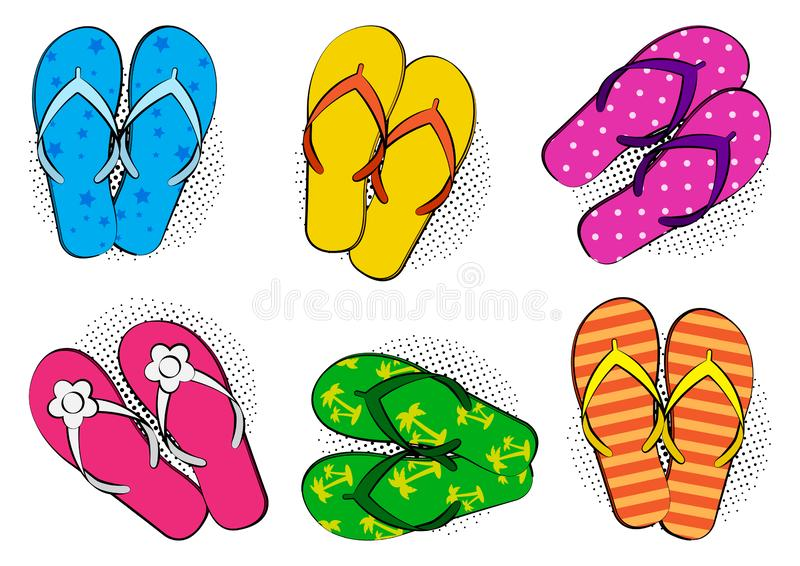Set of summer colorful comic flip flop with halftone shadow in pop art style. Vector. Illustration stock illustration