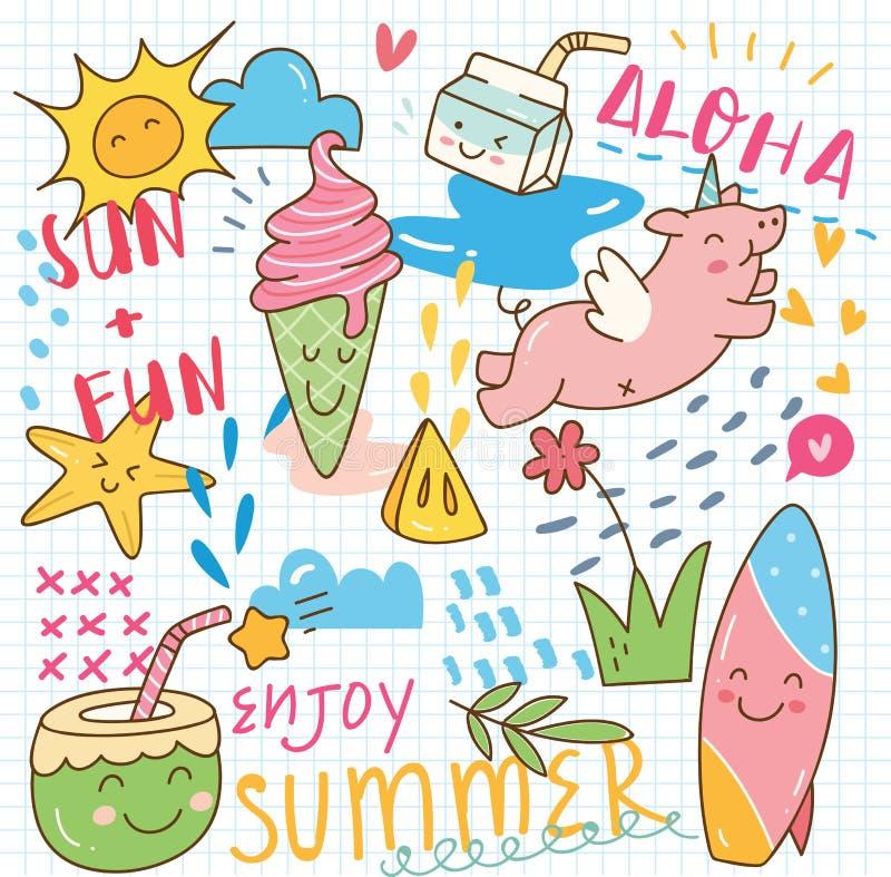 Set of summer doodle collage stock illustration