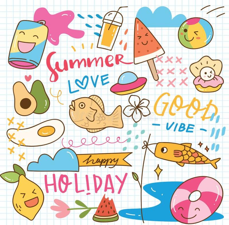 Set of summer doodle collage royalty free illustration