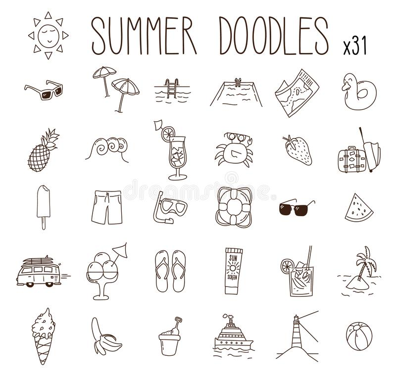 Set of 31 summer drawings. Vector doodle hand drawn icons. Beach, vacations, seasonal food and drink, summer illustratio vector illustration