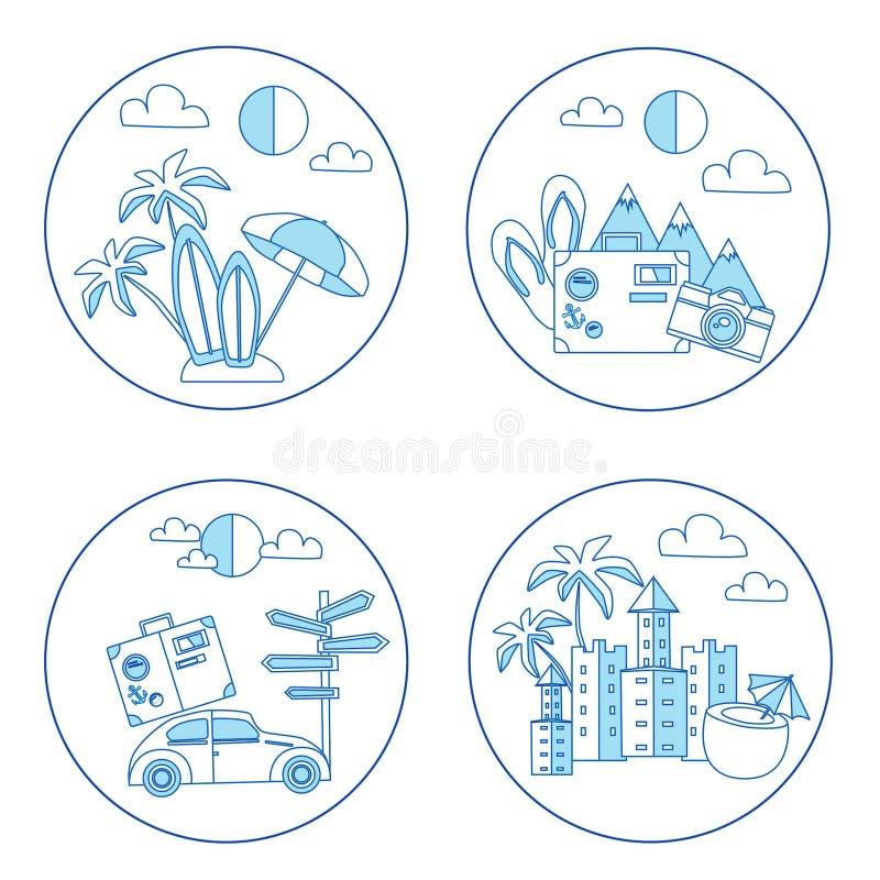 Set of summer flat icon stock photos